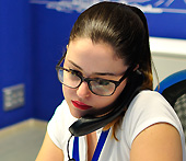A beautiful girl is at work in the Canaryfly office in Gran Canaria Airport (IATA: LPA)