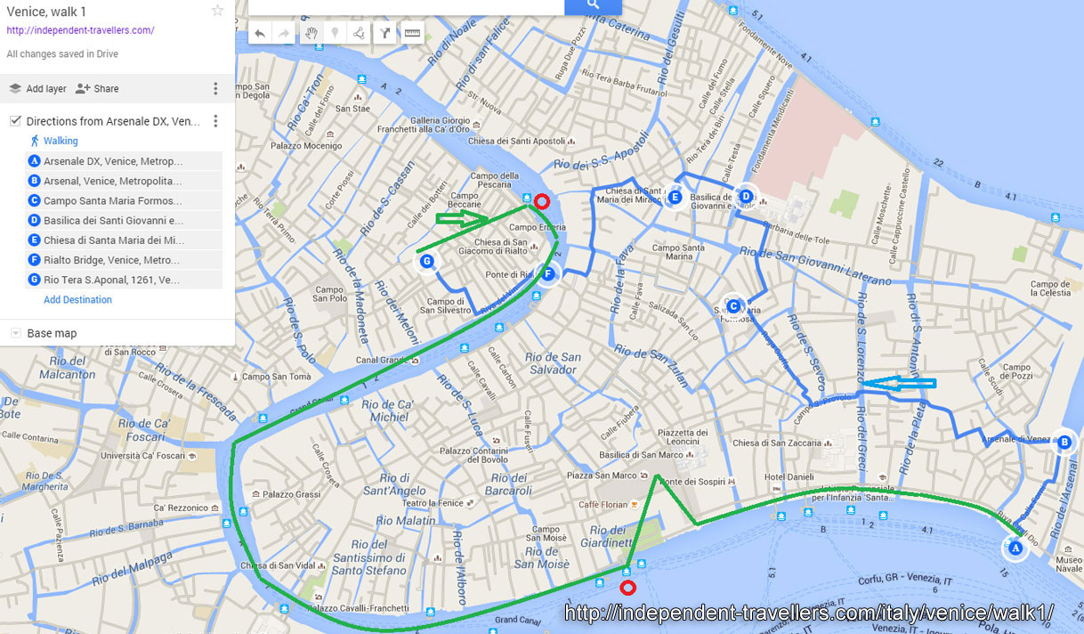 Walking Tour 1 Italy – Venice Map Tourist