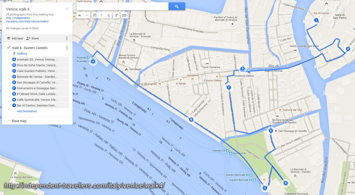 Map of the Venetian walking tour number 4
