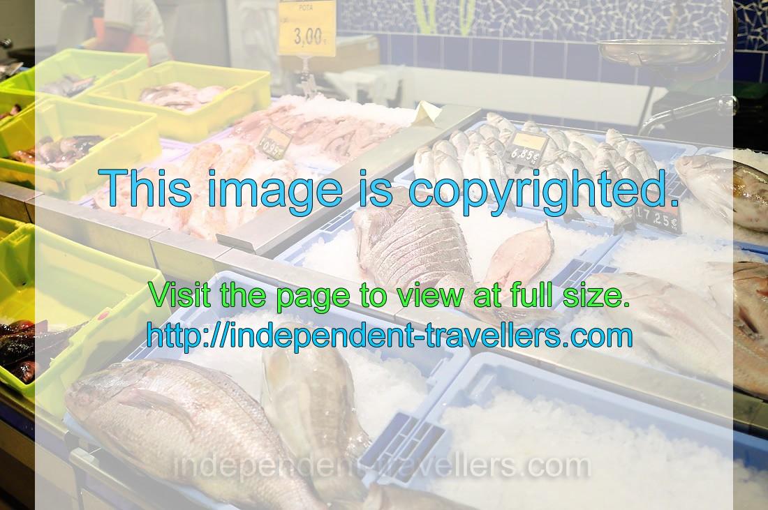 Fish is for sale at Mercadona supermarket - Los Cristianos